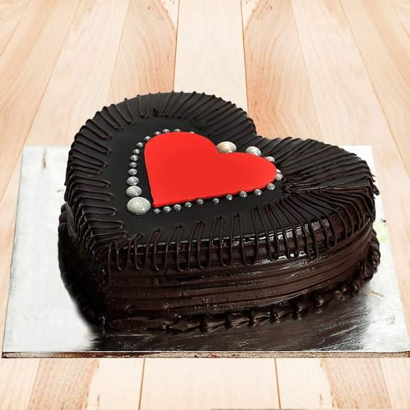 Buy Online Half Kg Heart Shape Truffle Cake Send India